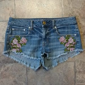 American Eagle embroidered floral festival shorts